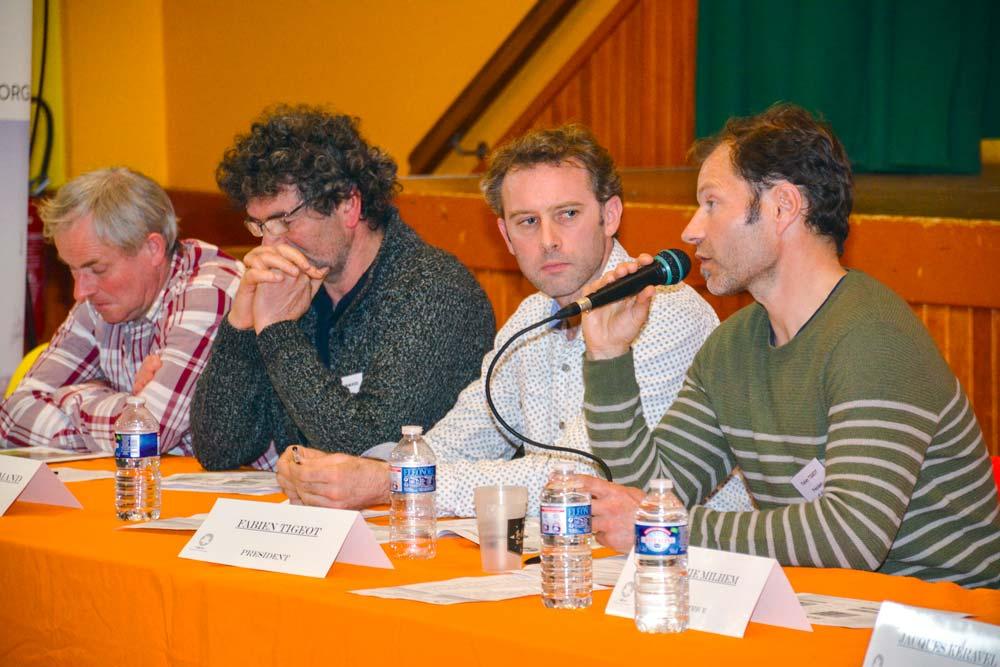 De droite à gauche: Fabien Tigeot, président, Jean-Charles Métayer, Pascal Le Normand et Jean-Luc Gicquel, lors de l'assemblée générale du Gab, la semaine dernière à Moréac.