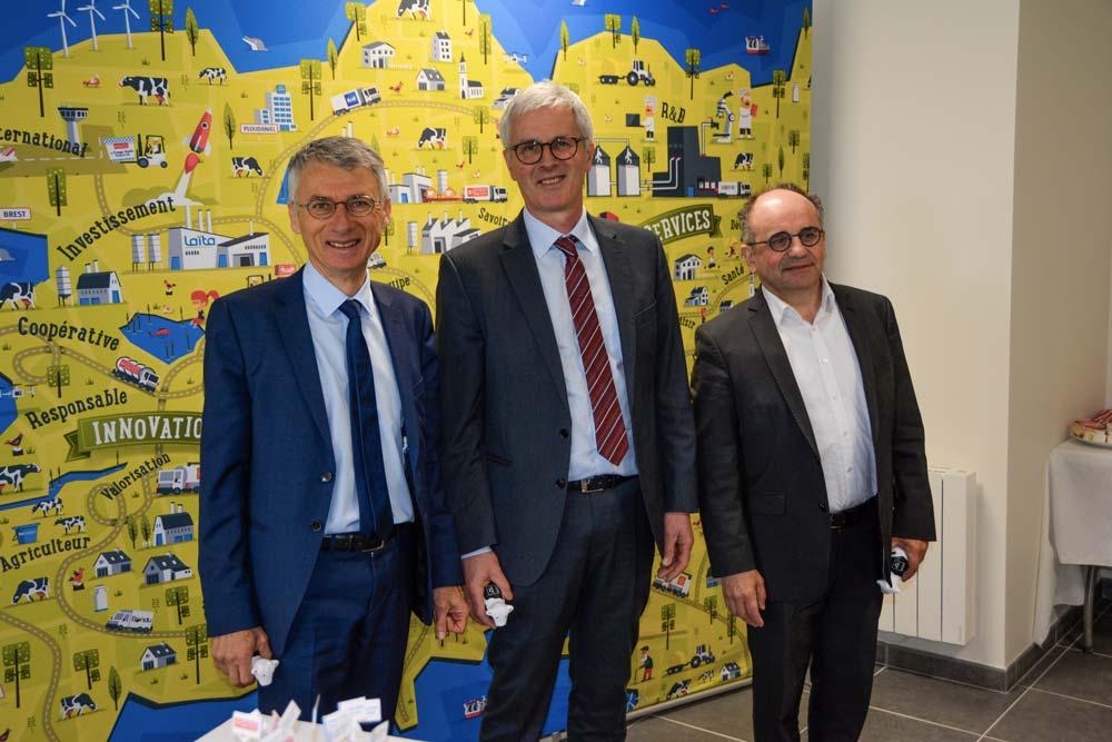 De gauche à droite : Christian Couilleau, directeur d'Even, Guy Le Bars, président, et Christian Griner, directeur général de Laïta.
