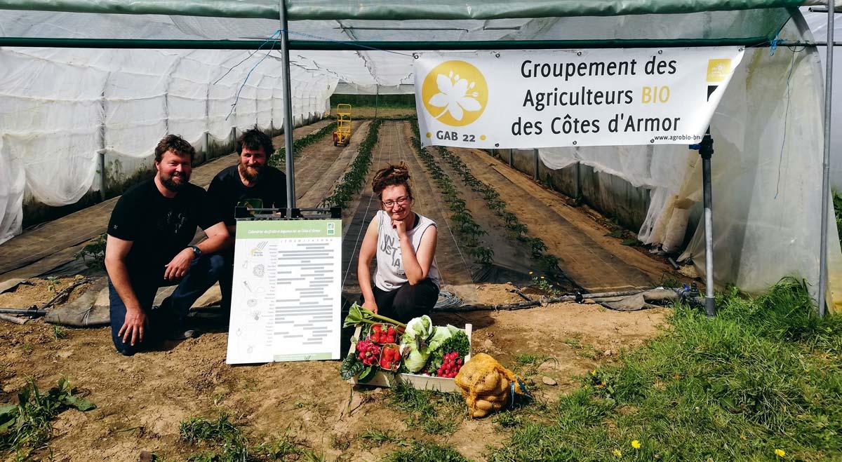 Sur leur ferme de Moustéru, Marc Anquetil et Marie Pernot, accompagnés de Dominique Boutouiller, maraîcher sur Plougonver, présentent le stade de développement d'une culture de tomates en serre froide, ainsi qu'un panier de légumes à la mi-avril qui respecte la saisonnalité. © Gonçalo Goncalves