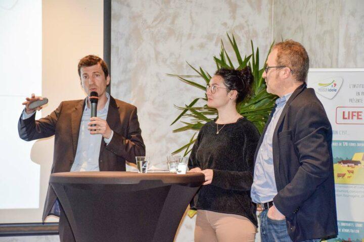 Josselin Andurand, de l'Institut de l'élevage, Bérengère Girard et Jean-Pierre Pasquet, de l'association Bleu-Blanc-Cœur, ont apporté leurs témoignages sur des initiatives concrètes de réduction des émissions de gaz à effet de serre en élevage bovin.