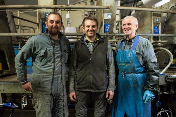 Benoît, Maxime et Jean-Yves, trois des associés du Gaec des Vosgelins.